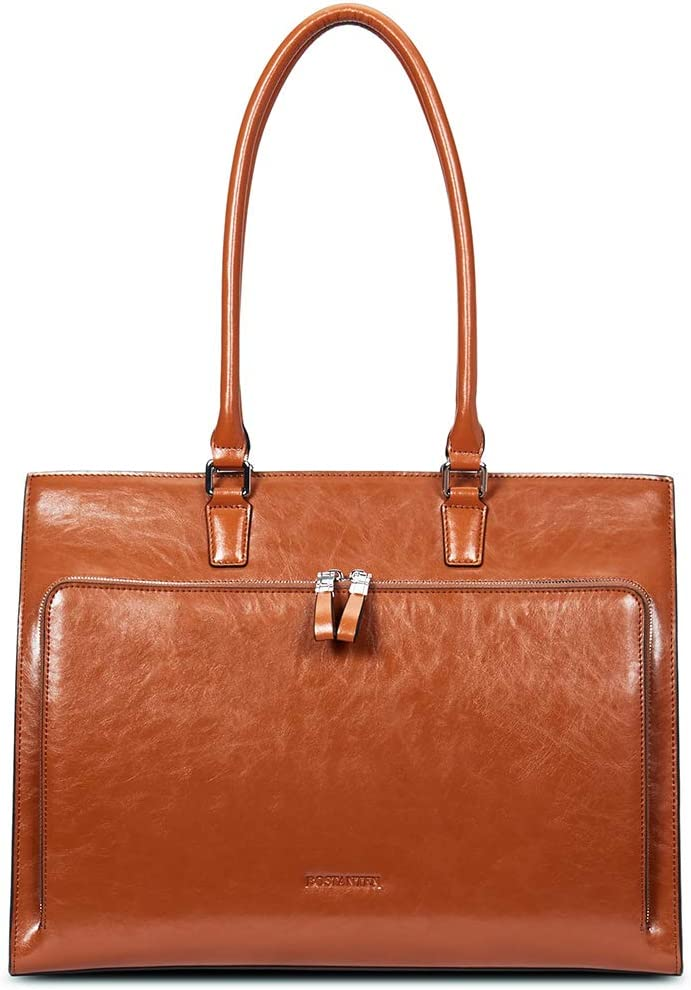 BOSTANTEN Leather Briefcase for Women Vintage 15.6 inch Laptop Bag Business Tote Shoulder Handbag Brown