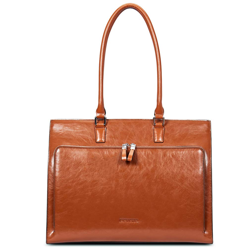 BOSTANTEN Women Leather Briefcase Vintage Shoulder 15.6'' Laptop Tote Handbags Brown