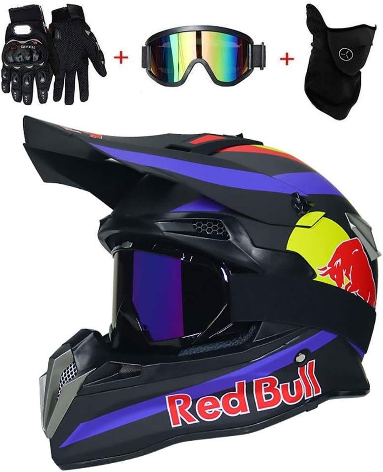 mit Brille//Maske//Handschuhe Erwachsene Offroad Motorrad MTB BMX Enduro Helm Bergab Quad Fahrrad Absturz Helm DOT Zertifizierung OUTLL Motocross Helm Set