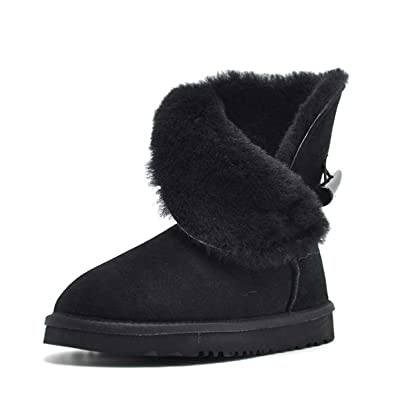 Better Annie 100% Real Fur Classic Mujer botas Waterproof Genuine Cowhide Leather Snow Boots Winter Shoes For Women