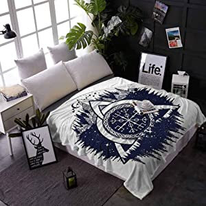 carmaxs Fleece Blanket Blue and White for Couch Home Bedroom Living Room Celtic Knot with Tridents Forest and Mountains Scandinavian Culture 70 x 90 Inches Dark Blue White
