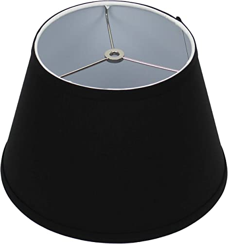 FenchelShades.com Lampshade 8 Top Diameter x 12 Bottom Diameter x 8 Slant Height with Washer Spider Attachment for Lamps with a Harp Linen Black