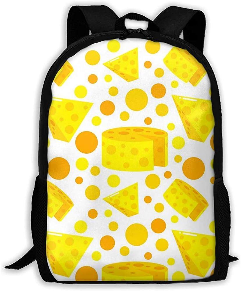 Lmtt Mochila con Bolsa de Viaje de Productos lácteos con Queso Bolsa de Viaje Informal para Adolescentes Niños Niñas