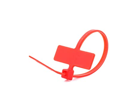 b182c22310b3 Image Unavailable. Image not available for. Color: 4 Inch Red Miniature ID  Cable Tie - Inside Flag - 100 Pack