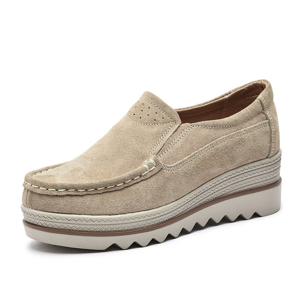 Ruiatoo Platform Shoes for Women Suede Slip On Loafers Wedge Platform Sneakers Comfort Moccasins Low Top Casual Shoes Khaki 38