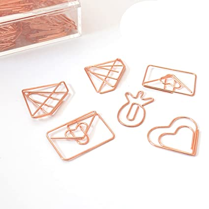 MultiBey Rose Gold Paper Clips Electroplating Smooth Steel Clips Pineapple  Envelope Diamond Heart Shape Clips, 25 PCS per Box (Envelope)