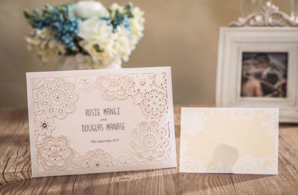 Wishmade 100x Ivory Laser Flowers Wedding Invitations With RSVP Cards and Envelopes For Engagement Bridal Shower Baby Shower Birthday Party Favor Supplies by Wishmade