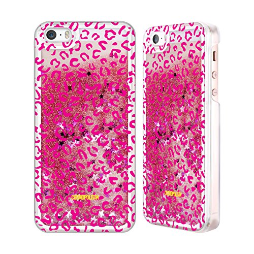 Official Cosmopolitan Pink Leopard Animal Skin Patterns Pink Liquid Glitter Case Cover for Apple iPhone 5 / 5s / SE
