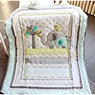 Baby Neutral Safari Elephant Crib Bedding Quilt