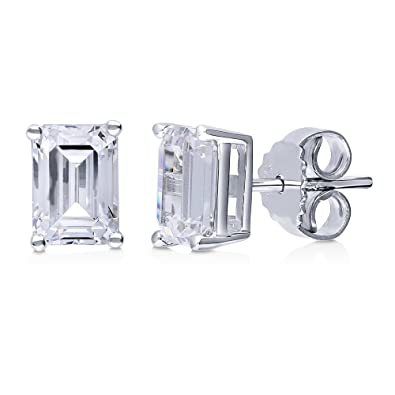 c0f752eb2 Image Unavailable. Image not available for. Color: Rhodium Plated Sterling  Silver Solitaire Stud Earrings Set w/Swarovski Zirconia ...