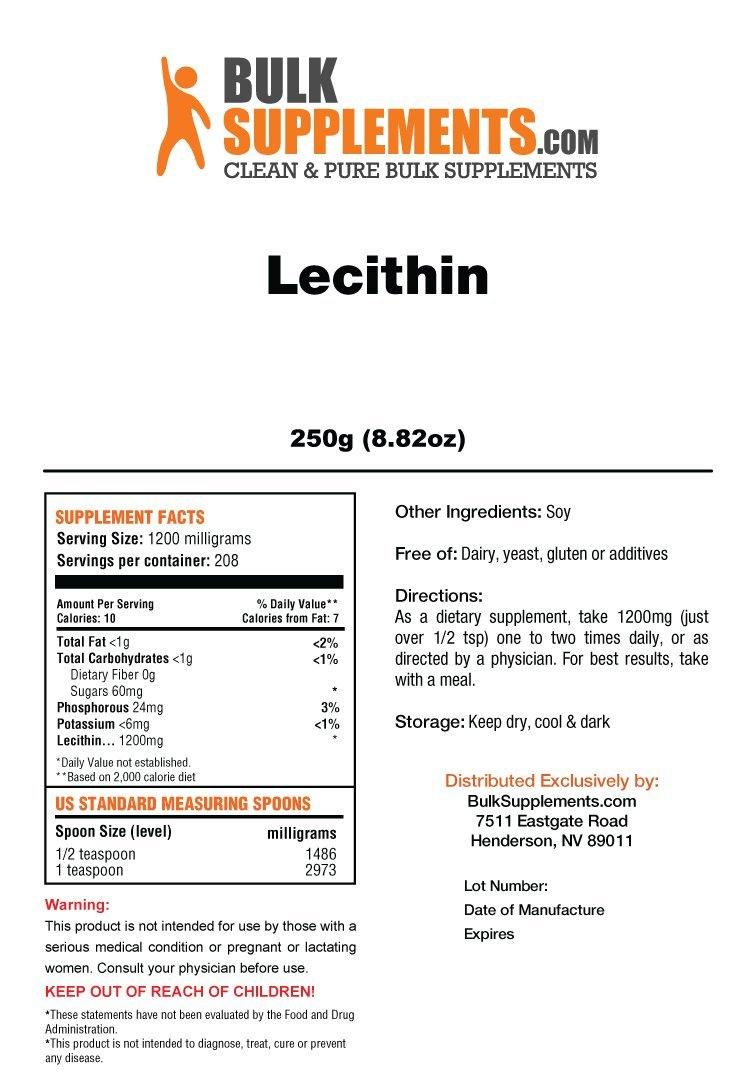 Bulksupplements Lecithin Powder (250 Grams)