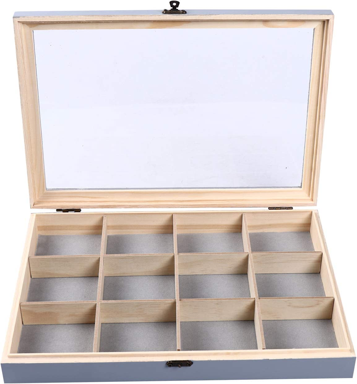 Y ME Wooden Jewelry Tray with Lid, Jewelry Display Organizer with Removable 12 Grid, Jewelry Storage Box for Rings, Earrings, Necklaces, Bracelet, Brooch Buttons, 13.8 x 9.5 x 2 inch Gray