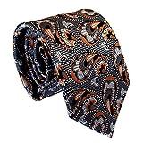 Secdtie Men's Classic Orange Grey Jacquard Woven Silk Tie Formal Necktie Y01