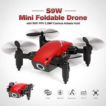 Lorenlli Ajuste S9W WiFi FPV 0.3MP Cámara Mini Drone Plegable ...