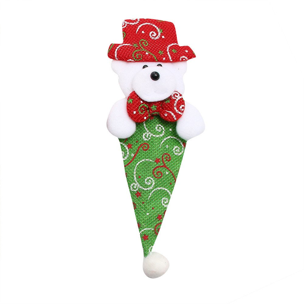 SOMESUN Weihnachten Besteck Tasche Süß Karikatur Lebensmittelqualität Leinen Essstäbchen Löffel Gabel Reisen Tasche Besteckset Hause Küche Familie Abendessen Geschirr Set Halter
