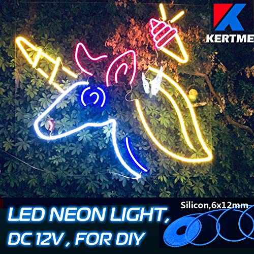 - KERTME DC12V Silicon Neon Led Light Strip, Safety, Super-Bright, Flexible & Waterproof Rope Light for Advertising Signboard, Brand Logo, Home Shop DIY Design Decor (6x12mm, 16.4ft/5m, Blue)