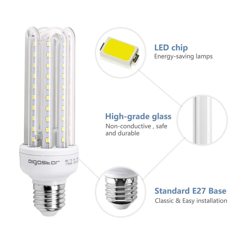 Aigostar - Bombilla LED B5 T3 4U, E27, 15 W equivalente a 120 W, 6400K, 1200 lúmenes, no regulable -Pack de 5: Amazon.es: Iluminación