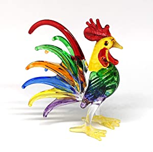 ZOOCRAFT Glass Rooster Chicken Figurine Country Kitchen Decoration Style Miniature Hand Blown Collectible Figure