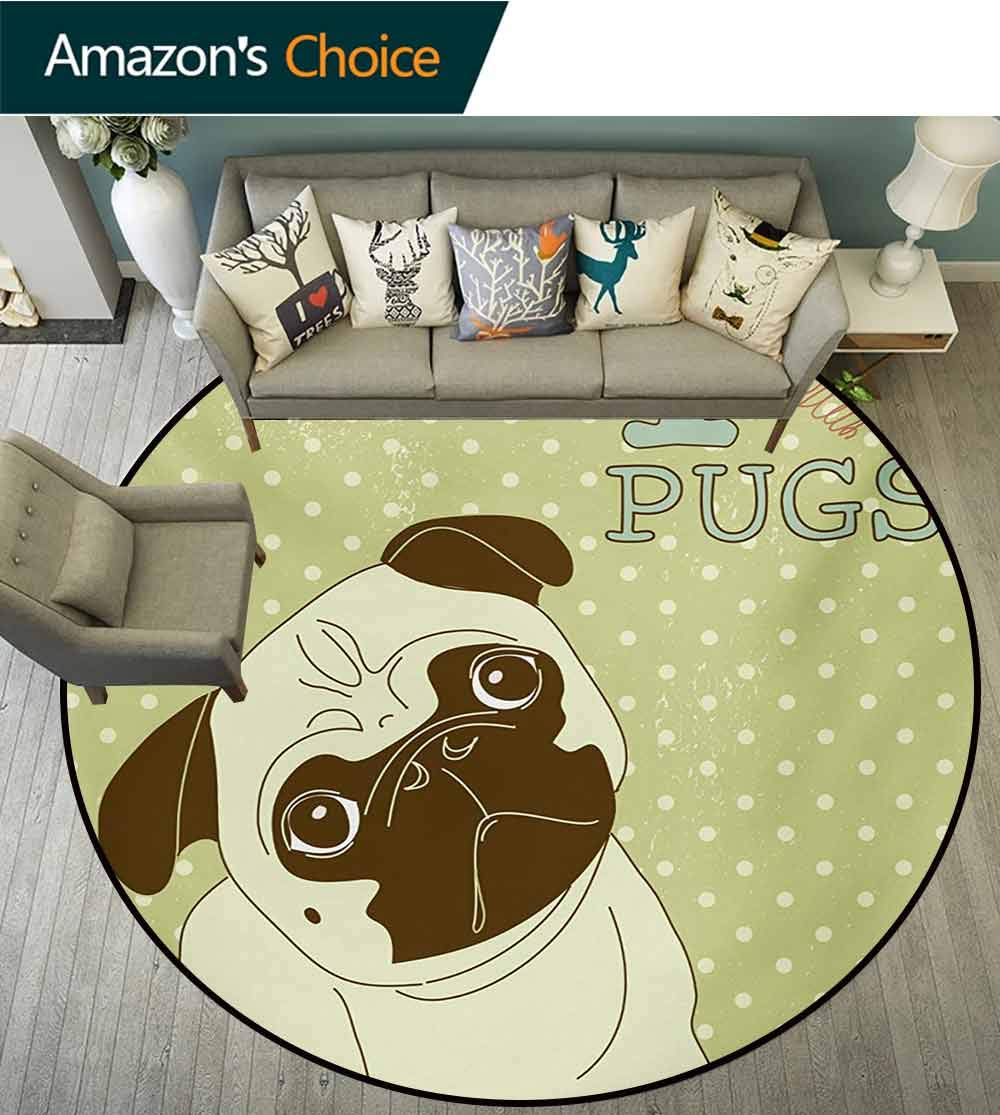 RUGSMAT Pug Round Rug,Cute Little Dog with Tilted Head with Lovely Expression I Love Pugs Pet Carpet Door Pad for Bedroom/Living Room/Balcony/Kitchen Mat,Round-71 Inch Avocado Green Baby Blue