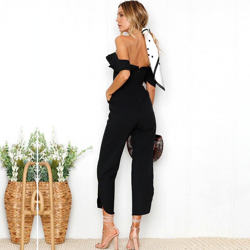 PRETTYGARDEN Women's Backless Off Shoulder Tiered Ruffle High Waist Jumpsuit Romper Split Casual Overall (Black, Small) by PRETTYGARDEN (Image #5)