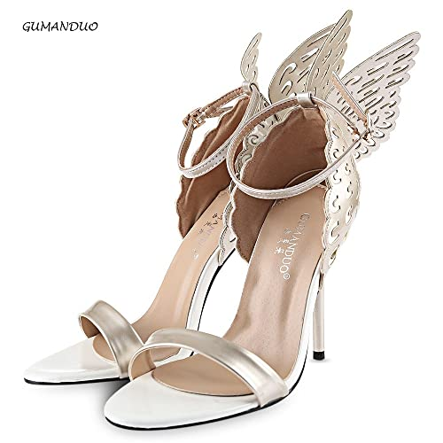 5a67c0d7ffc Hannea GUMANDUO Sexy Butterfly Wings Embellishment Ankle Strap Ladies Thin  High Heel Sandals  Buy Online at Low Prices in India - Amazon.in