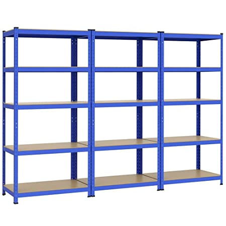 Cargas pesadas estante hasta 1325 kg estante de almacenamiento con suelos 5 180 x 90 x 45 cm metal MDF