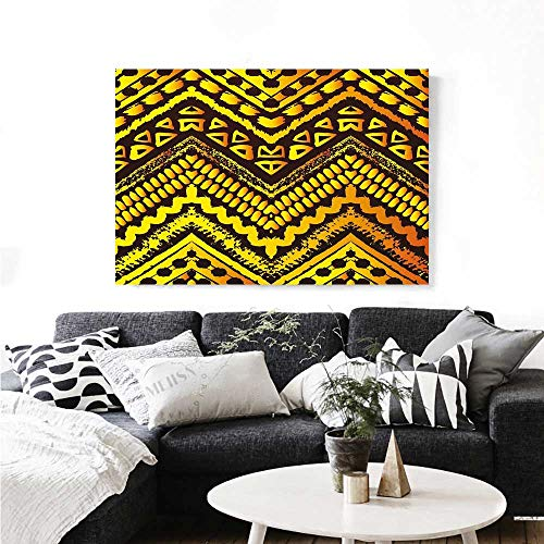 (Warm Family Tribal Modern Canvas Painting Wall Art Hand Drawn Painted Ethnic Pattern with Zig Zag and Stripes African Geometric Art Art Stickers 32