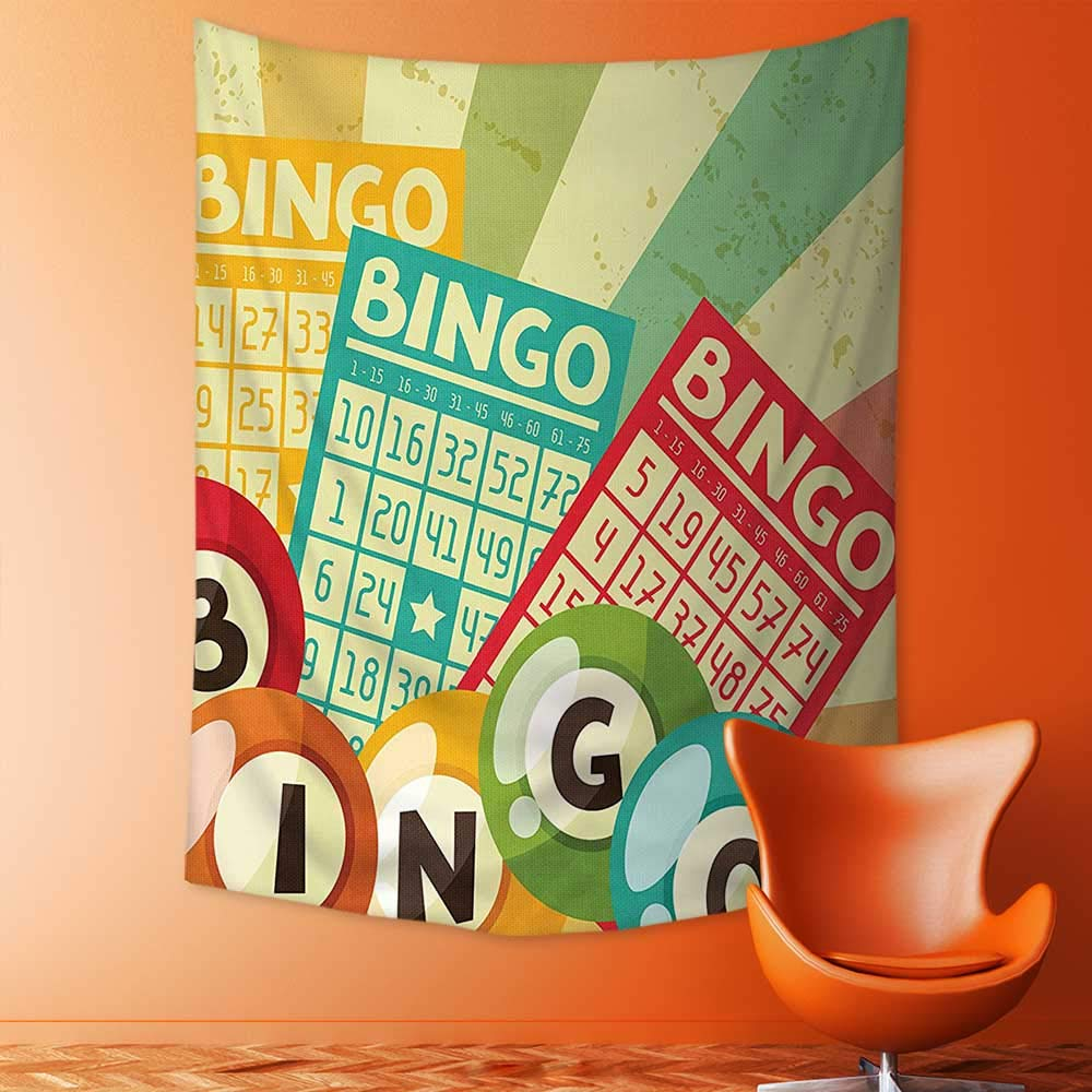 Magical Landscape Tapestry Bingo Game with Ball and Cards Pop Art Stylized Lottery Hobby Celebration Theme for Bedroom Living Room Dorm