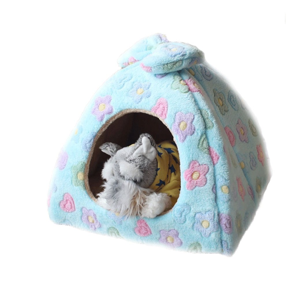 434336cm Soft Warm Flower Pet Nest Non-Slip Dog Cat Hamster Bed Soft Cozy Sleeping Bag Mat Pad Cushions bluee 33  33  28cm, 43  43  36cm, 53  53  42cm (Size   43  43  36cm)