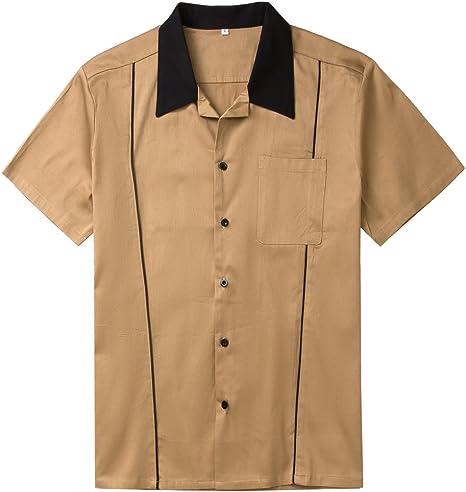 Candow Look Men Shirt Brown Cotton Unique Design Button Down Bowling Shirts: Amazon.es: Ropa y accesorios