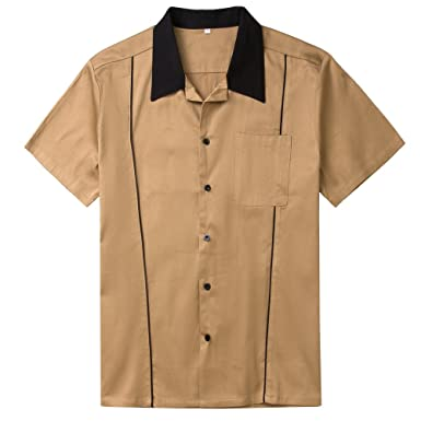 aa8f3d375d293 Candow Look Mens 50 s Vintage Brown Bowling Shirts Button Down Shirts (Large )