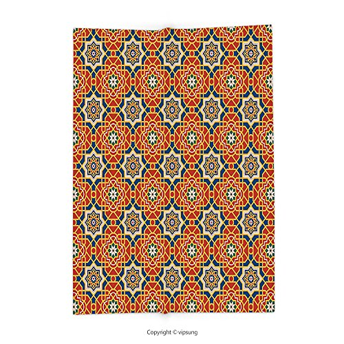 Custom printed Throw Blanket with Arabian Decor Collection Arabesque Islamic Geometric Oriental Ethnic Patterns and Motifs with Vintage Colors Art Print Multi Super soft and Cozy Fleece Blanket by vipsung