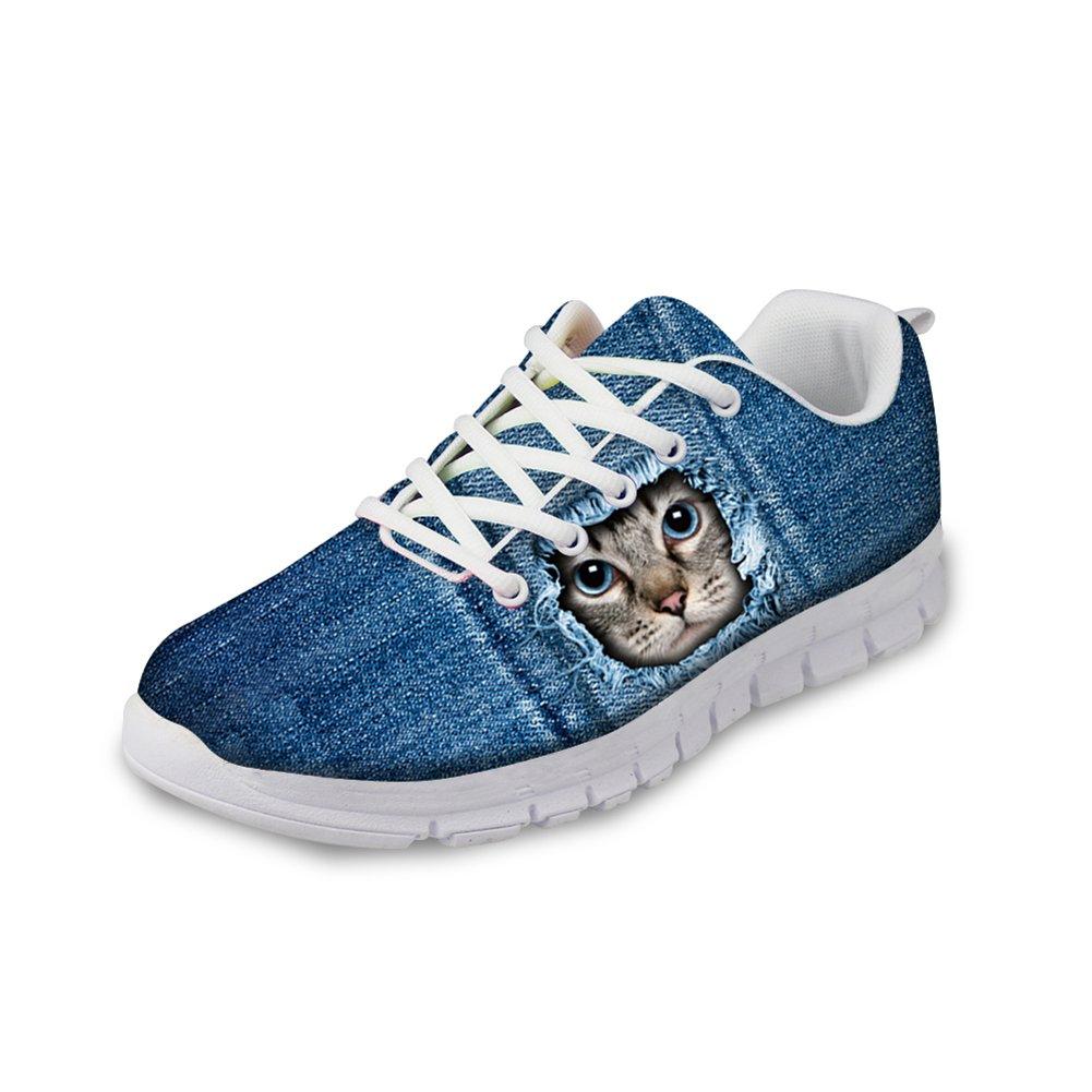 HUGS IDEA Denim Blue Women's Casual Sports Sneakers Cat Head Print Athletic Running Shoes US12