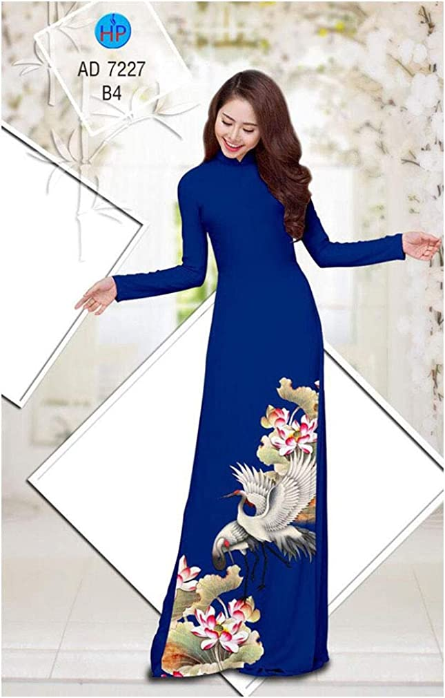 Traditional Vietnamese Long Dress Collections with Pants Ao Dai Silk 3D ADVN0405202282
