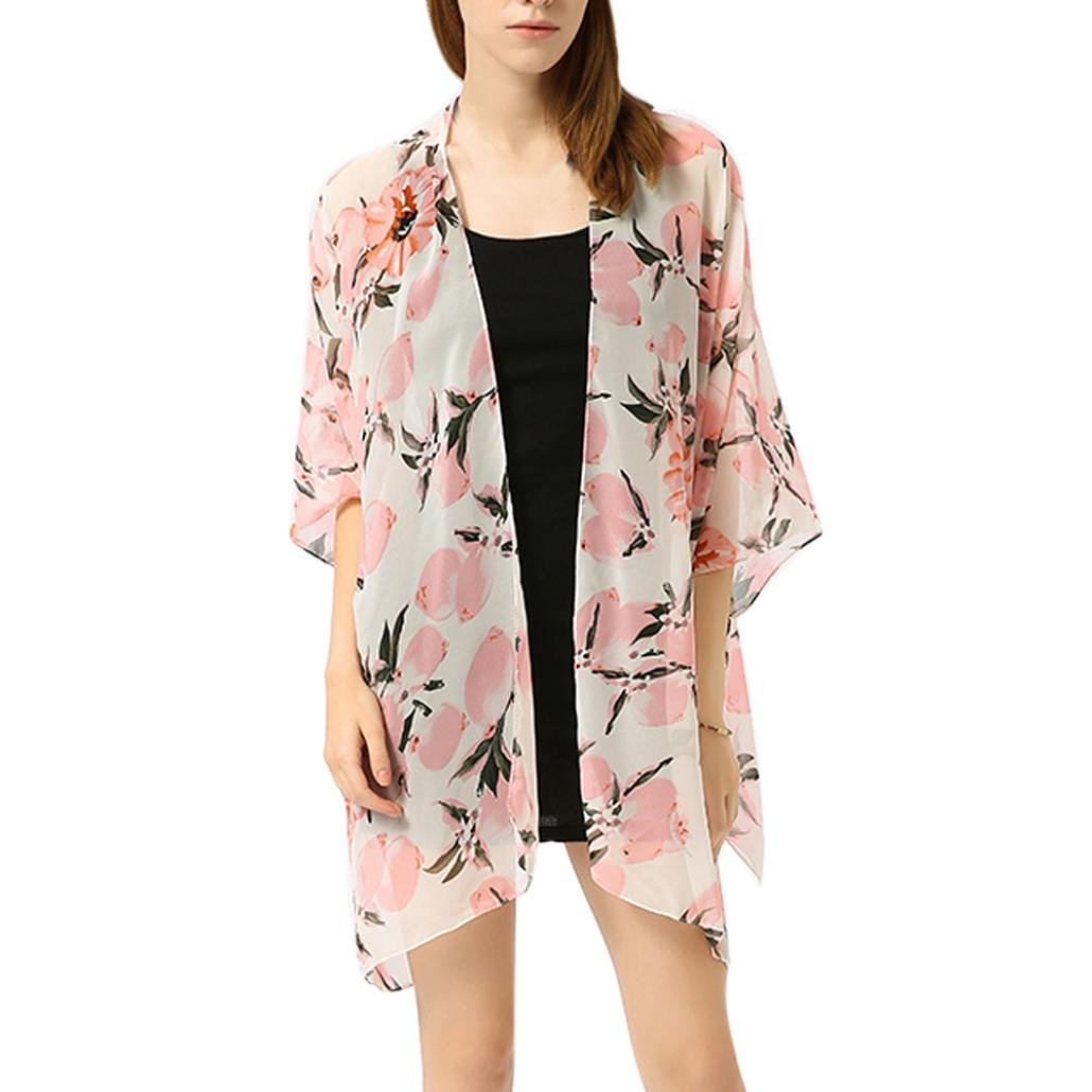 Women Coat, Coromose Young Girls Floral Summer Beach Kimono Cover-up Cardigan Nary) Coromose 1569