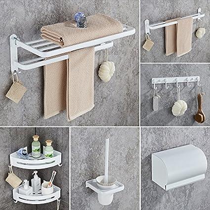 Hlluya Toallero El Espacio en Blanco del Aluminio Toallas plegadas de Toallas de baño estantería incorporada