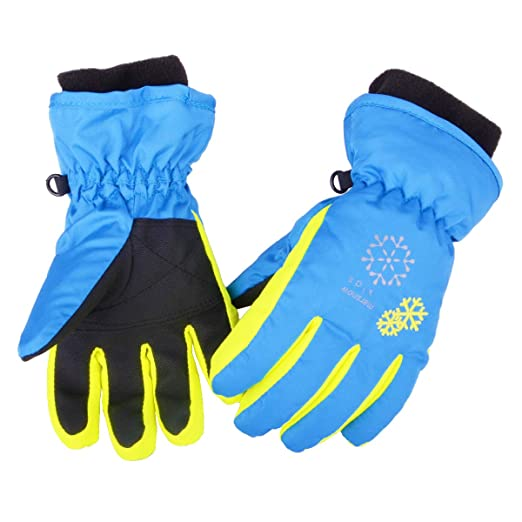 Children Ski Gloves Pink Blue Waterproof Snow Gloves Winter Motorcycle Skiing Gloves Snowboarding Gloves For Outdoor Fast Color Skiing Gloves