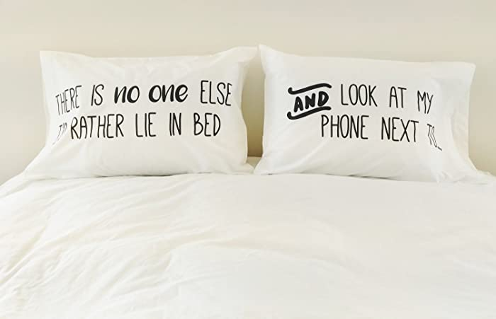 Pillow Cases for Couples Pillowcases iphone Love Pillowcase Set 300TC Gift for Him Holiday Gift Valentines