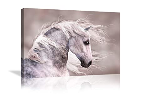 Urttiiyy Wall Art of Animal Prints on Canvas Running Horse Pictures for Living Room Decor Wall Artwork HD Prints for Home with Framed Stretched Ready to Hang 32 Wx48 H, Artwork-22
