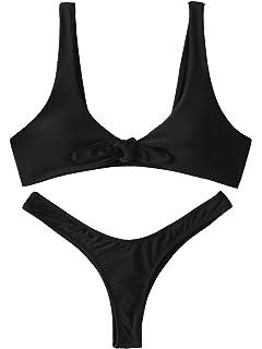 8e84b4528f237 SweatyRocks Women s Sexy Bikini Swimsuit Plaid Print Tie Knot Front Thong  Bottom Swimwear Set