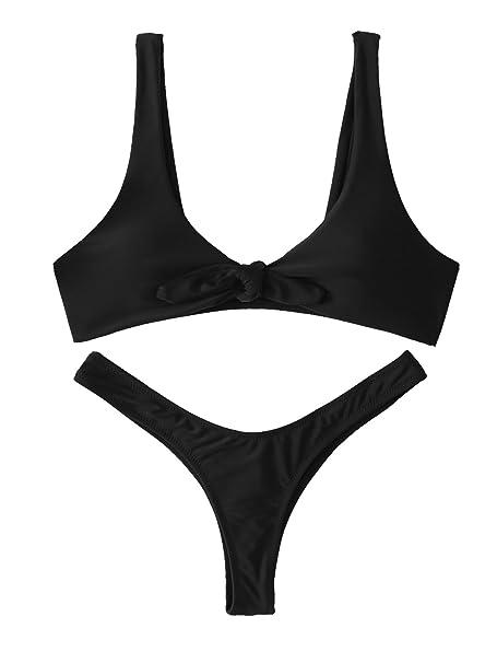 57fe475dc5bd9 SweatyRocks Women's Sexy Bikini Swimsuit Soild Color Tie Knot Front Thong  Bottom Swimwear Set Black S