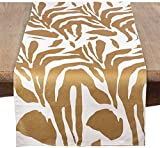 Saro LifeStyle 3575.GL1672B Metallic Animal Print Table Runner, Gold, 16''x72''