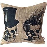Nunubee Linen Cotton Cushion Cover Throw Pillow Case Sofa Bed Home Decor Two Skulls