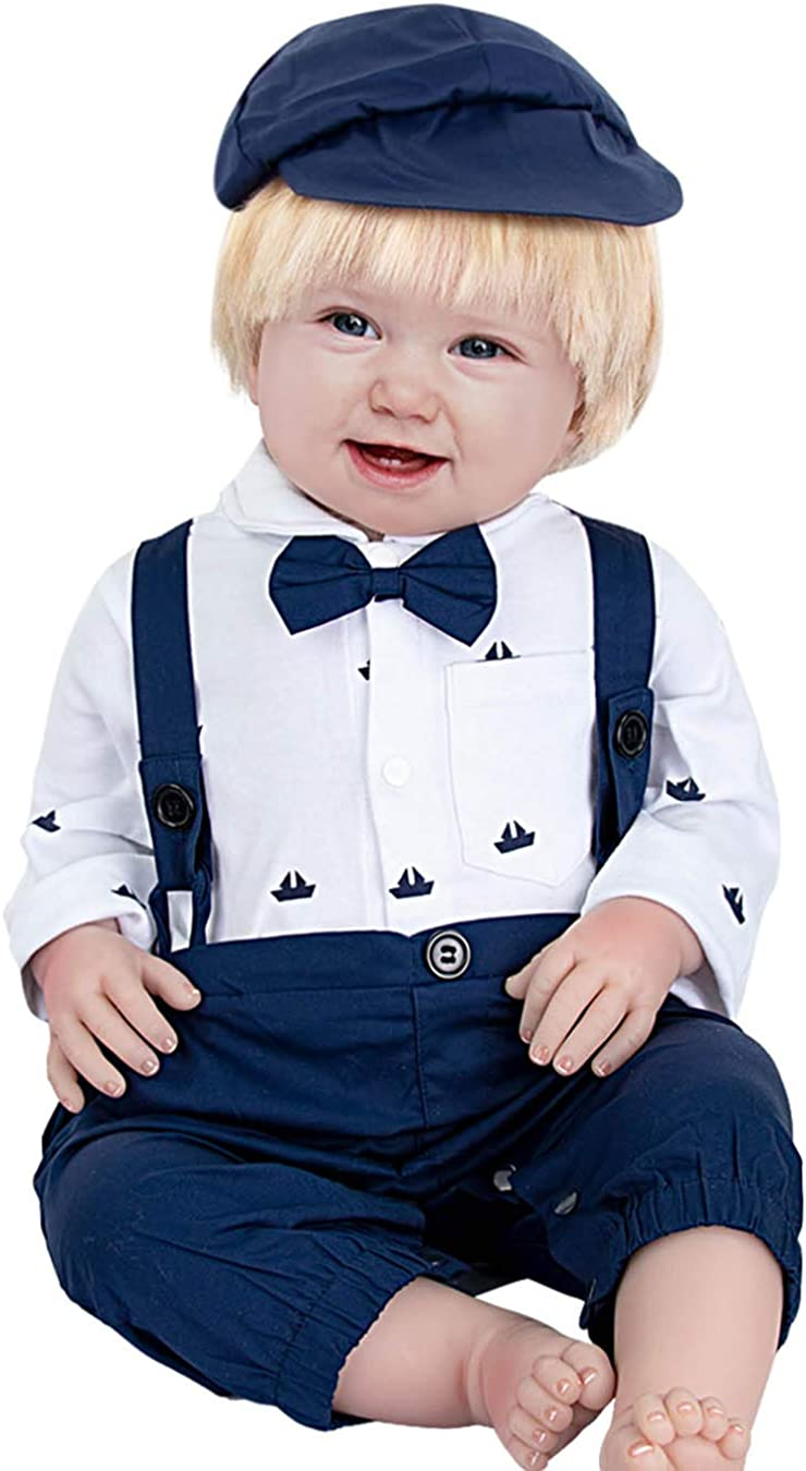 A/&J DESIGN Newborn Boys Gentleman Romper Long Sleeve Jumpsuit with Bowtie and Hat Size:3-24 Months