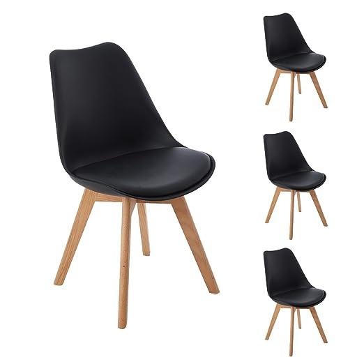 DORAFAIR Pack 4 sillas escandinava Estilo nórdico Silla de Comedor, con Las piernas de Madera de Roble Maciza y cojín cómoda,Negro: Amazon.es: Hogar