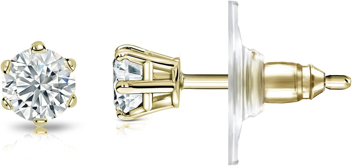 14k Gold Mens Round Diamond Simulant CZ Stud Earrings 6-Prong 1//4-2cttw,Excellent Quality