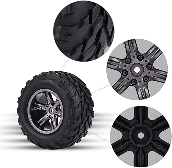 Dilwe 4 Stück Tpr Reifen Reifen Und Naben Felgen Für 1 12 Rc Auto Lkw Crawler Spielzeug