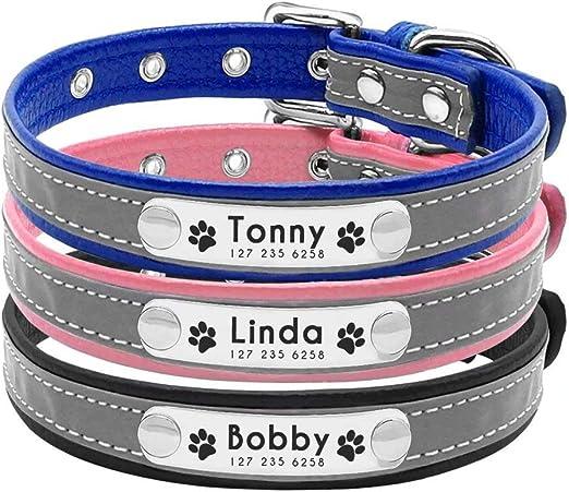 Collar para perro Berry suave acolchado personalizado – grabado personalizado perro ID collares con placa de nombre – Collar reflectante para perro gato para perros pequeños y medianos – ESA ID TAG: