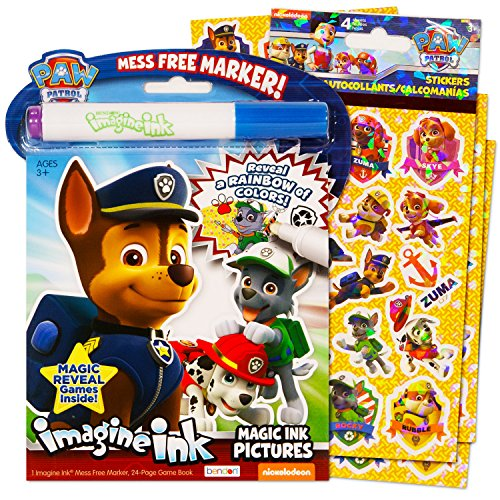 amazoncom paw patrol imagine ink book and sticker pack set imagine ink book sticker pack and mess free marker toys games - Magic Ink Coloring Books