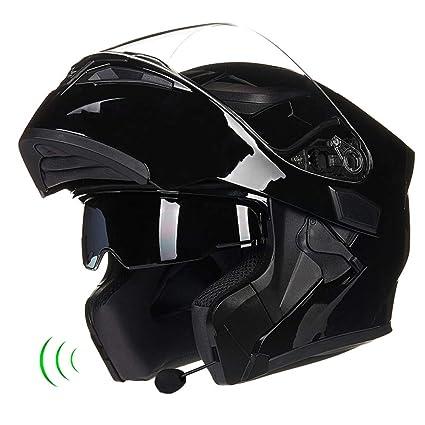JPFCAK, Casco De Moto, con Bluetooth, Lente Doble, Casco Antivaho, Bocina